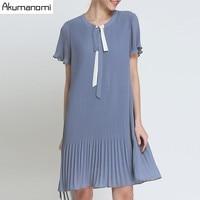 Summer Chiffon Draped Dress Women Clothing Blue Lace up O neck pleated Short Sleeve Dress Plus Size 5XL 4XL 3XL 2XL XL L M