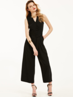 Black Slip Jumpsuit Sexy Cross Low Back Women Summer Jumpsuits 2018 Loose Full Length Sleeveless Casual