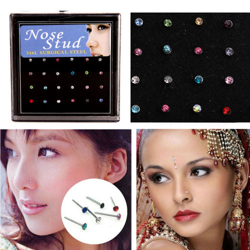 New Surgical Steel Rhinestone Nose Rings Crystal Bone Pin Stud Body Piercing Jewelry