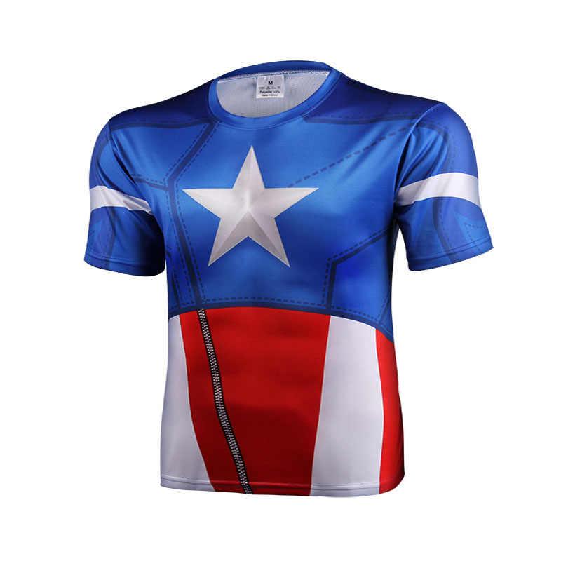 3 D Dicetak T Kemeja Lengan Pendek T-shirt Marvel Super Hero Avenger Batman T Shirt Pria Lapisan Dasar Termal Di Bawah kebugaran
