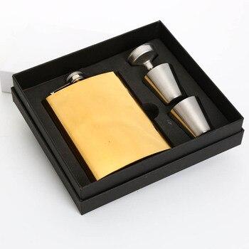 Poszycie kolorowe 8 OZ zestaw do wina złota ze stali nierdzewnej wódki hip kolby zewnątrz rosyjski przenośny na butelki na napoje alkoholowe męska prezent heupfles