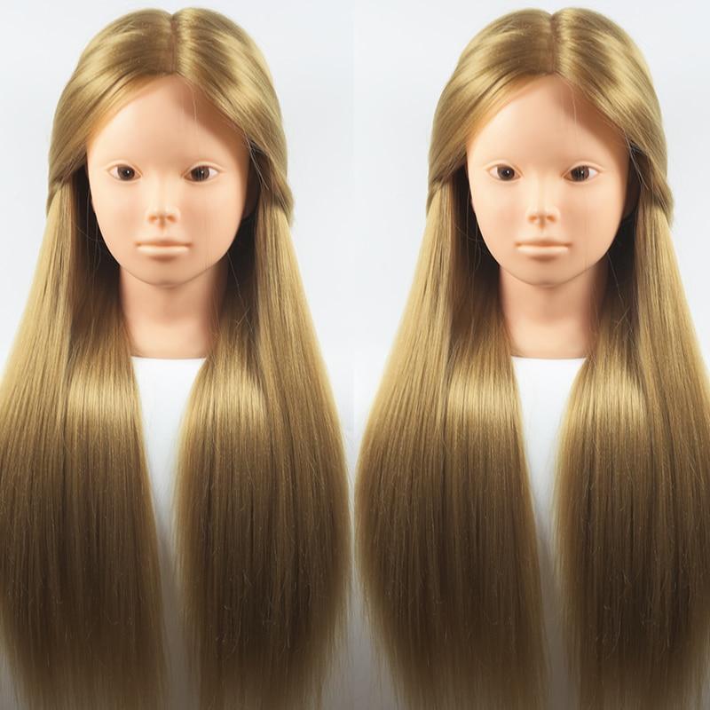 Best 65CM 100% High Temperature Fiber Blonde Hair Training Head Hairdressing Practice Makeup Training Mannequin Head Wig Heads