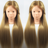 Best 65CM 100% High Temperature Fiber Blonde Hair Training Head Hairdressing Practice Makeup Training Mannequin Head Wig Heads