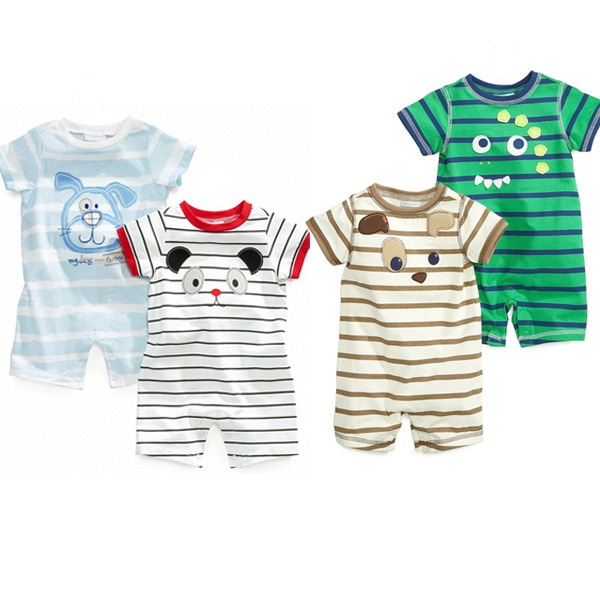 4pcs/lot Baby Romper Short Sleeve Animal Cartoon Cotton Similar Baby Boy Girl Clothes Baby Wear Jumpsuits Clothing Body Suits 2017 baby girl summer romper newborn baby romper suits infant boy cotton toddler striped clothes baby boy short sleeve jumpsuits
