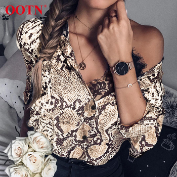 OOTN Snake Skin Print Silk Blouse Women Shirts Long Sleeve Tops Female Tunic 2018 Vintage Fall Casual Satin Blouses Snakeskin