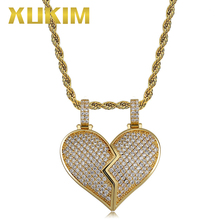 Xukim Jewelry Iced Out Broken Heart Pendant Hip Hop Silver Gold Color Cubic ZirconiaNecklace Chain Gift Party