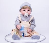 Более реальные 55 см всего тела силикона Bebe Reborn для маленьких мальчиков 22 винил новорожденных прекрасный подарок на день рождения играть до