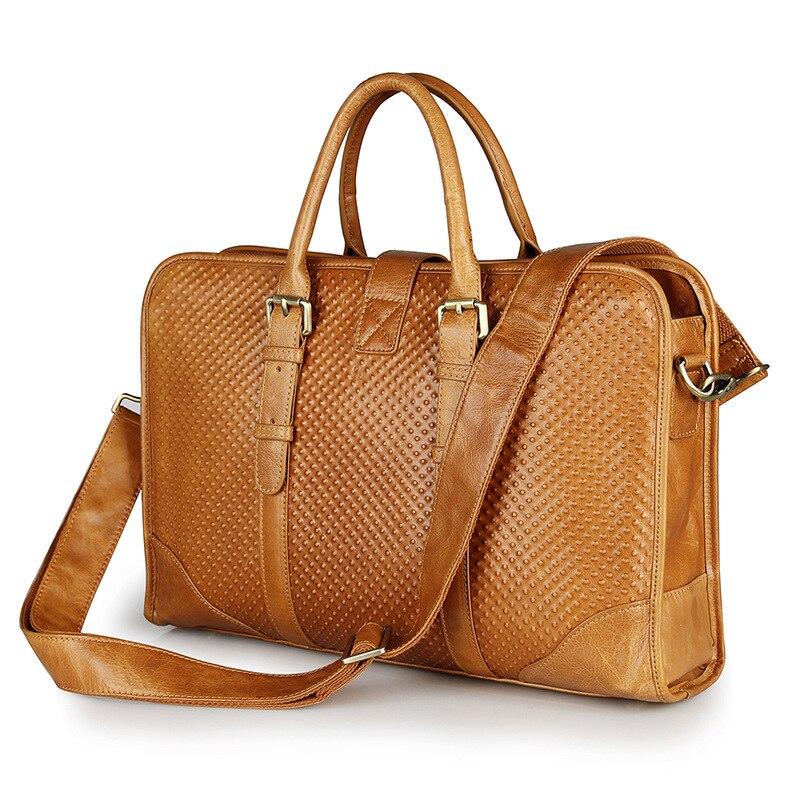 Nesitu Vintage Genuine Leather Briefcase Man Portfolio 14 Laptop Men Messenger Bags M7339