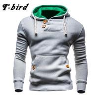 T Bird Sweatshirts Men 2017 Brand Hoodie Decorative Buttons Fashion Hip Hop Mens Hoodies Autumn Winter