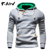 T Bird Sweatshirts Men 2017 Brand Hoodie Decorative Buttons Fashion Hip Hop Mens Hoodies Autumn Winter