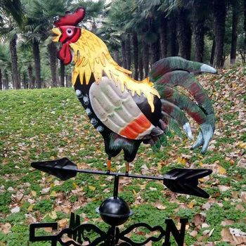 Metal Weather Vane with Rooster Ornament Rooster Weathervanes Garden Patio Decor easy installation RT99
