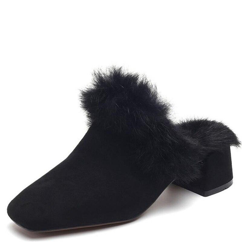 Un 3 Classique Talons See Talon Cm Carré Troupeau Base Chaussures De Chart noir Haute Bout see Fourrure kaki Peu Femmes Pompes Pointu Chart Mariage Femme Profonde q0axt