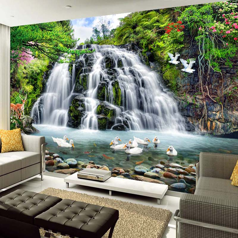 Mountain Water Landscape Running Water Waterfall Wall Mural Custom 3D Photo Wallpaper Living Room Background Decor Wall Painting