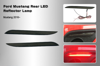 2PCS Red LED Bumper Reflector Lights  for Ford Mustang 2015-2017,Function as Tail/Brake or Rear Fog Lamps