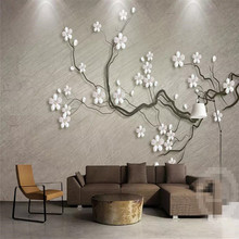 Plum jewelry three-dimensional background wall professional production murals wholesale wallpaper mural poster photo wall