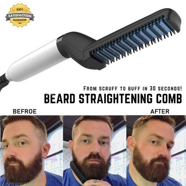 Alisador de barba rápido peine multifuncional rizador de pelo alisador Clip Permed peine estilizador herramienta eléctrica para el cabello para hombres