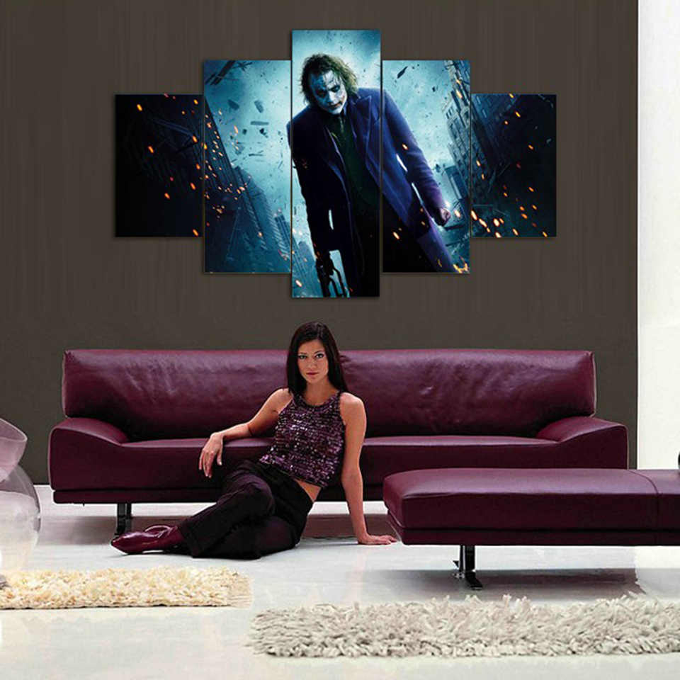 HD Wall Art Poster Framework Printed Modern Canvas 5 Panel Movie Joker Living Room Pictures Home Decoration Modular Painting