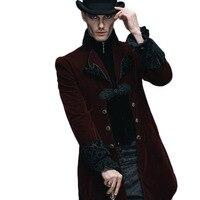스팀 펑크 겨울 자켓 남성 착실히 보내다 블랙 레드 긴 소매 남성 고딕 바람막이 점퍼 남성 Softshell 법원 로얄 코트 및 재킷
