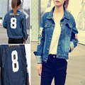 2015 Spring And Summer Letter Print Jean Jacket Women Fashion Denim Jacket American And European Style Coat