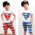 2-7years лето супермен Детская Одежда устанавливает топ + брюки мальчик одежды хлопка футболки и брюки детская одежда мальчик одежда