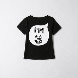 Baby Child T-shirt Tops For Kids Girls Boys Summer Clothes Black White Shirts First Birthday Party Outfit Children T-shirts Tees(China)
