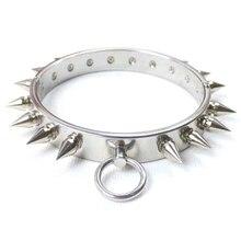 лучшая цена Stainless steel heavy metal bondage collar with rivet fetish bdsm slave neck collar restraints toys sex games for couples