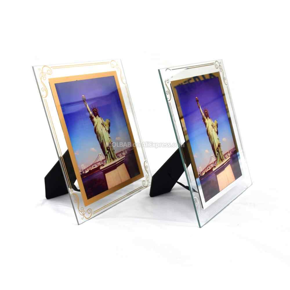 5/7 Inch Tabletop Glass Photo Frames Gold Silver Lace Border Craft Chic Ornate Europe Style Desk Picture Frame Office Home Decor