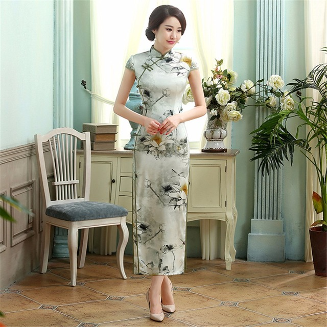 Free Shipping Floral Cheongsam Dress Traditional Chinese Dress  Long Qipao dress for sale Chinese Qipao dress 2 Style