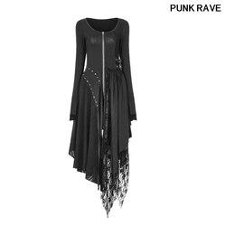 Черное кружевное платье с асимметричным подолом, готическое трикотажное облегающее платье с складками, с разрезом на талии, в стиле панк-ре...