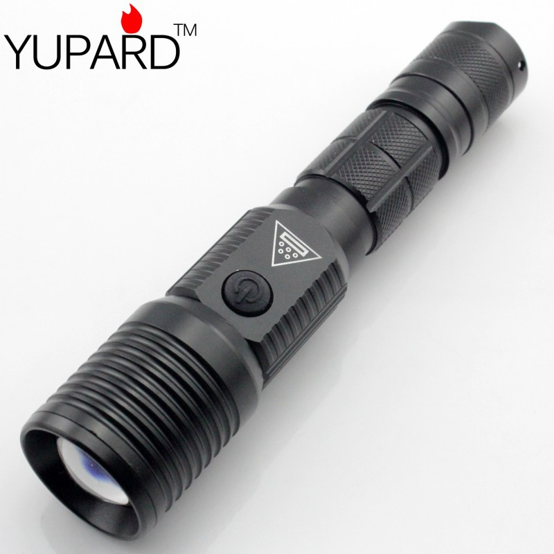 YUPARD  XML-T6 Zoomable LED Flashlight Torch  USB charge 18650/AAA  battery 5modes Brightness LED high power bank tactical torch xm l t6 led zoomable led flashlight torch 26650 18650 rechargeable battery usb charge mobile power bank tactical camping torch