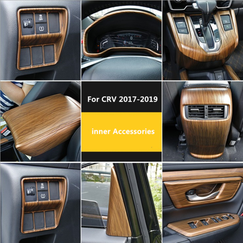 NEW Arrival Car Internal Accessories Mahogany Pattern For Honda C-RV Crv 2017 2018 (left Hand Drive Version)