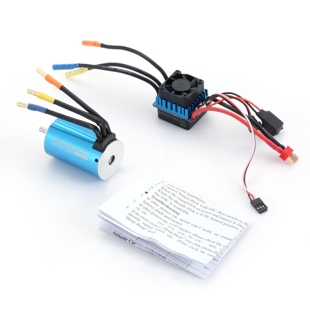 3660 3800KV 4 poles Sensorless Brushless Motor with 60A Electronic Speed Controller Combo Set for 1/10 RC Car Truck Accessories 9t 4370kv 4 poles motor sensorless
