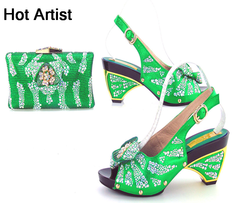 Hot Artist New Arrival Rhinestone Green Shoes And Bag Set Summer Style High Heel Woman Shoes And Bag Set Size 37-43 TYS17-90