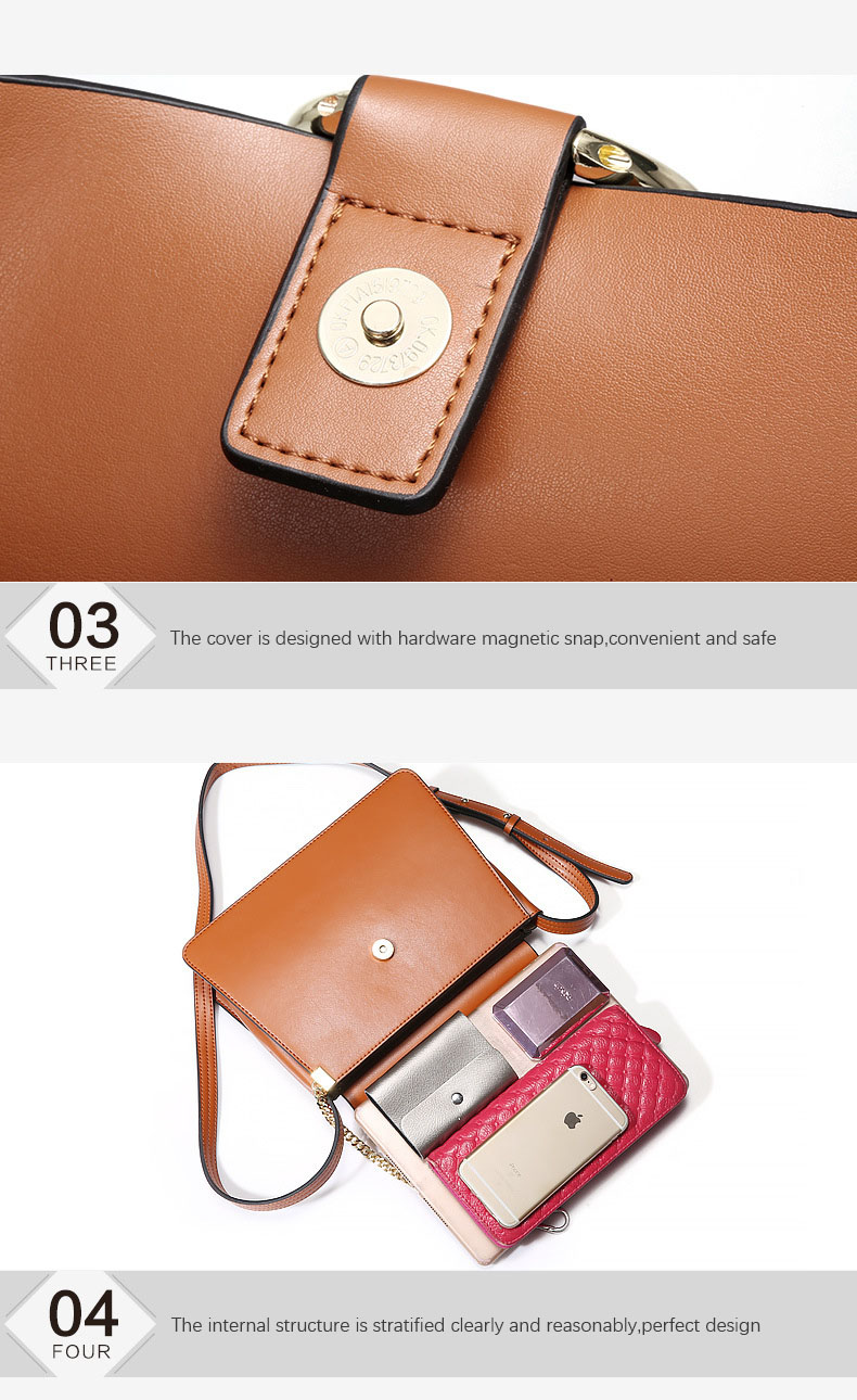 100% Genuine Leather Women Shoulder Bags Famous Brand Metal Ring Chains Women Crossbody Bags Retro Natural Leather Lady Handbag (3)
