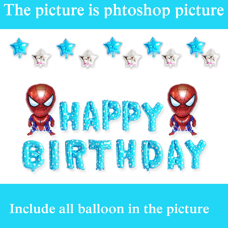 25pcs/lot blue color birthday balloons set with letters and spiderman foil balloons for spiderman party balloons