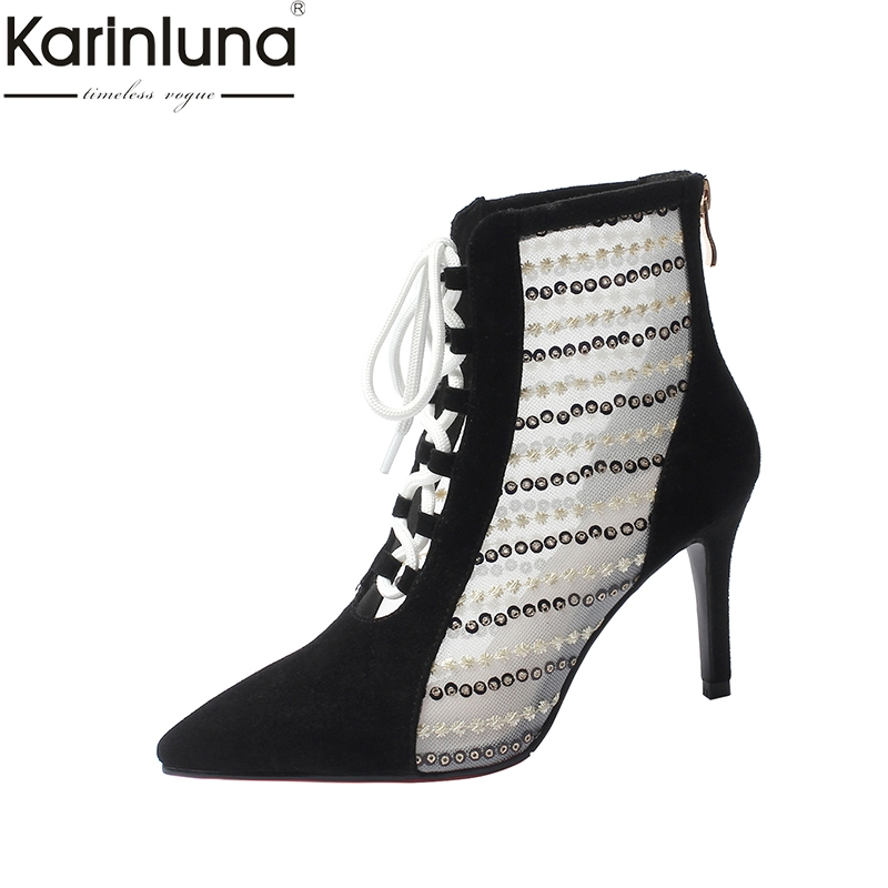 KarinLuna Plus Size 42 Chic Style 2019 Brand New Mature womens Summer Boots Classcis Elegant Office Lady womens ShoesKarinLuna Plus Size 42 Chic Style 2019 Brand New Mature womens Summer Boots Classcis Elegant Office Lady womens Shoes