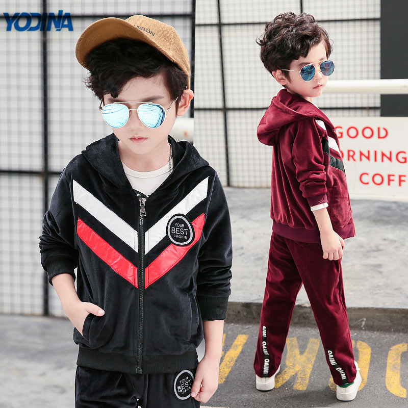 YODINA Kids Clothes Boys Clothing Set Spring Autumn School Children Sports Suit Long Sleeve Boy Velvet Set 2pcs Sweatshirt+Pants  casual kids clothes boys girls clothing sets sports autumn 2017 2pcs girl tracksuit hooded boy set long sleeve children suit