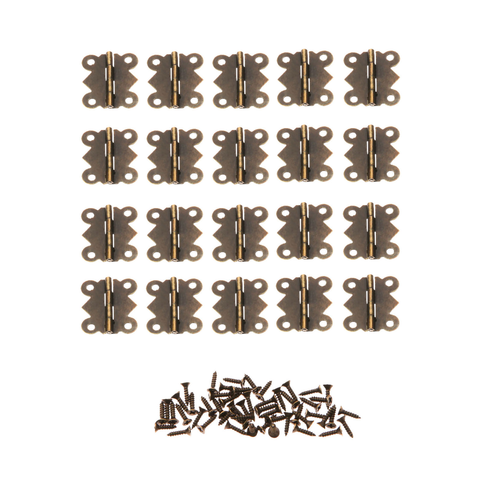 DRELD 20Pcs 20*25mm Mini Butterfly Door Hinge Antique Bronze Cabinet Drawer Jewellery Box Decorative Hinges Furniture Hardware