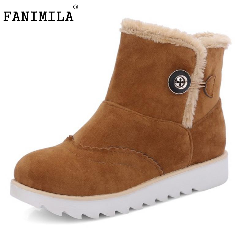 New Russian Woman Round Toe Flat Ankle Boots Women Thickened Fur Snow Boot Female Warm Fur Winter Shoes Footwear Size 34-43
