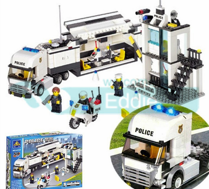 KAZI Police Station 511pcs 6727 DIY Monifigures Police Truck Building Block Learning & education Toys Bringuedos for children jie star police pickup truck 3 kinds deformations city police building block toys for children boys diy police block toy 20026