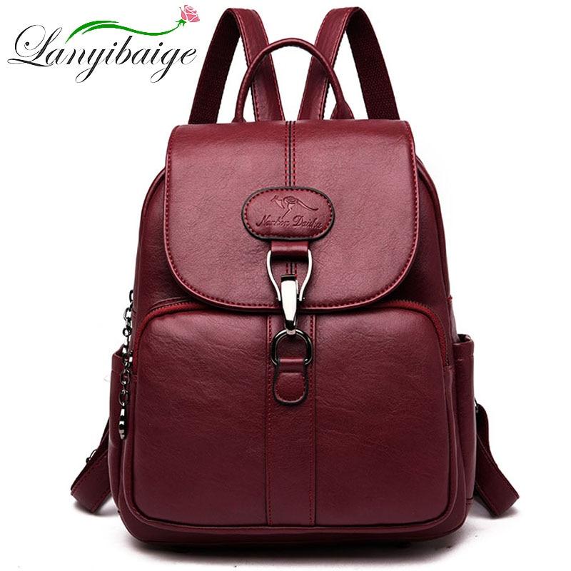 Female Door Lock Backpack Multifunction Women Leather Backpack For Lady School Bag Shoulder Sac A Dos Travel Back Pack Rucksacks
