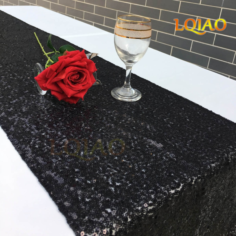 Black Sequin Table Runner-001