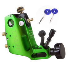 Green Rotary Tattoo Machine Kit Aircraft Aluminum Tattoo Rotary Gun for Shader Liner with Blue RCA Cord fit Tattoo Needles