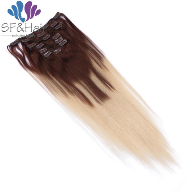 Grampo Em Extensões Do Cabelo Humano quente 7 pçs/set Clipe ins Remy Clipe brasileiro Em Extensões Ombre Grampo Em Extensões Do Cabelo Humano cabelo