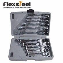 Flexsteel 12 UNID Cabeza Flexible Llave de Trinquete Llave de Combinación Conjunto Metirc 8-19 MM En CR-V Calidad Envasados En Restos Del Caso de almacenamiento