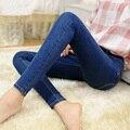2016 Mulher Lápis Casual Botões Das Calças de Brim Azul Jeans Stretch Skinny Moda Primavera do Sexo Feminino Plus Size Calças Jeans Skinny Para As Mulheres