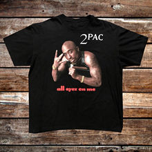 Vintage 2Pac All Eyez On Me Death Row Records Black Tee Shirt Size Gift Print T-shirt Hip Hop Tee T Shirt NEW ARRIVAL