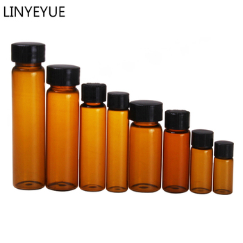 All sizes Brown Glass Sample Bottles with PP cap+PE pad Essential oil bottle Screw Cap Glass Test Tube for Laboratory glass test tube corked bottle 15ml tube with flat bottom 27 50mm wishing glass bottle home storage jars for flower 50pcs lot