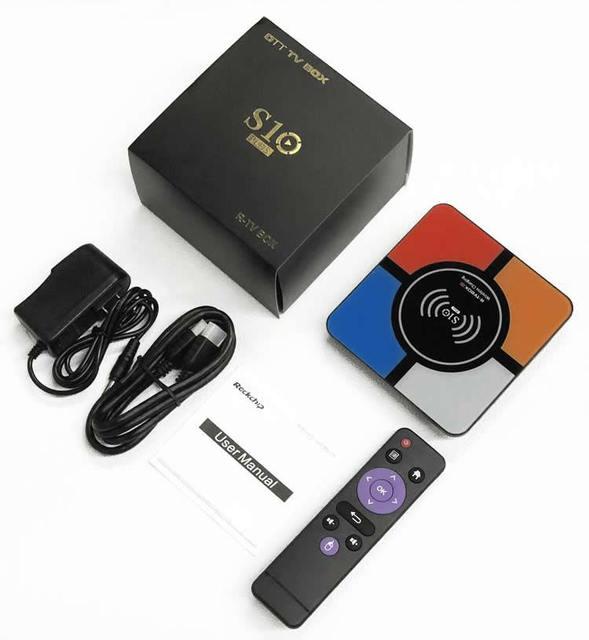 S10 плюс Android 9,0 Smart ТВ коробка Беспроводной быстрой зарядки RK3328 Quad core 4 Гб 64 GB Wi-Fi 4 K H.265 USB3.0 Smart ТВ телеприставке 5