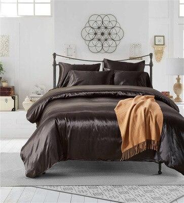 Seta di Gelso di lusso set di biancheria da letto copripiumino copriletto foglio di letto king/queen/full size-in Completi letto da Casa e giardino su  Gruppo 3